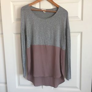 Anthropologie long sleeve two tone top